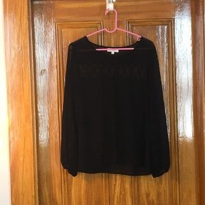 Umgee sheer black blouse (L) with back detailing